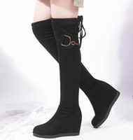 Wholesale thigh high wedge plus size boots for sale - Group buy Plus size to Sexy Black Synthetic Suede Wedge Heels Height Increased Over The Knee Thigh High Boots cm