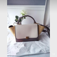 Wholesale leather swings resale online - Charm2019 Smiling Swing Face Matting Wing Cowhide Bat Single Shoulder Portable Spelling Color Genuine Leather Woman Package