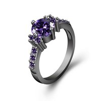 Wholesale platinum sets plated cz jewelry resale online - You Are Unique In My Heart Solitaire Rings k Rose Gold Platinum Black Gold Plated Purple CZ Personality Engagement Women Ring Jewelry Gift