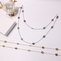 Wholesale artificial chain pendant resale online - 2019 Foreign trade hot jewelry copper inlaid artificial crystal color necklace irregular cut long necklace girl sweater chain birthday gift