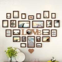 ingrosso foto di combinazione-Cornice romantica a forma di cuore Cornice decorativa 25 pezzi / set Cornice di nozze Home Decor Camera da letto combinazione di cornici set