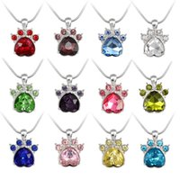 Wholesale bear paw charms for sale - Claw Necklaces Cute Rose Gold Bear Paw Dog Cat Claw Pendant Necklace for Women Jewelry Wedding Pink Love Footprint Crysatal Pendant Necklace