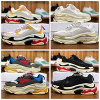 moda kadın koşu ayakkabıları spor ayakkabı toptan satış-Moda Tasarımcısı balenciaga triple s shoes 17FW Triple-S 2018 Üçlü S Sneaker Desi Lüks Baba Ayakkabıları erkek Kadın Bej Siyah Spor Koşu Ayakkabıları 36-45