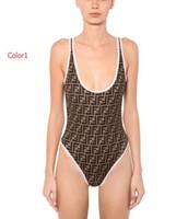 moda biquíni mulheres s maiô venda por atacado-2019 Verão Sexy One-piece Swimsuit Para As Mulheres Bikini Set Moda Marca Swimwear Com FF Letras Lady Backless Maiôs 2 Estilos S-XL