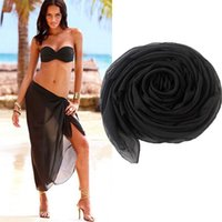plaj havlusu eteği toptan satış-Seksi Katı plaj cover up Malaya peştemâli yaz bikini cover-ups wrap pareo plaj elbise Mesh etekler havlu