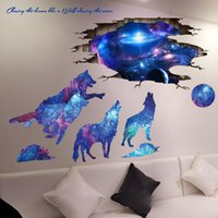 ingrosso materiale vinile per decalci-[SHIJUEHEZI] Universo Galaxy Wall Stickers Vinile Materiale DIY Lupi Luna Murale Decalcomanie per Camere da Bambini Decorazione Camera da letto del bambino