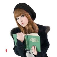 Wholesale crochet baggy hats resale online - Girl s Women s Beret Braided Baggy Beanie Crochet Warm Winter Hat Cap Wool Knitted Retail BZN F6P