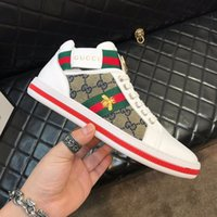 Wholesale sneakers studs men resale online - New man brand shoes Glitter Web sneaker with studs stripe with top quality casual ace shoes designers shoes for women size