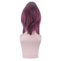 ingrosso fashion wigs-Prezzo di fabbrica 1pc Donne Fashion Lady Dark Red Anime Medium Rosa Net Wigs 21.7 pollici Gioco Cosplay Parrucche Stand Stocked Feb20