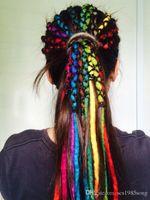 33 613 cabello al por mayor-Nepal Fieltro Dreadlocks Lana Crochet Trenzas Pelo Trenzado sintético Extensiones de cabello 40cm-50cm muchos colores Diferentes dreads Estilo de pelo