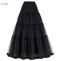 Wholesale black tulle crinoline for sale - Group buy Black Women Red Skirt For Long Fashion Vintage Wedding Skirts Crinoline Nylon Underskirt Ball Gown Empire Voile Tulle Petticoat