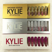 Wholesale mini color boxes resale online - New Kylie Jenner Cosmetics Matte Liquid Lipstick Mini Kit Lip Birthday Edition Limited With the Golden Box set Lip Gloss set