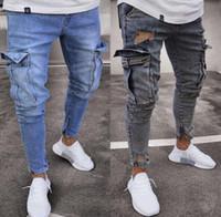 calça jeans para homens venda por atacado-Calças de brim dos homens mens Slim Fit Calças De Brim Dos Homens Hi-Street Mens Afligido Denim Basculadores Estiramento calças de brim dos homens tendência joelho buraco zíper pés calças