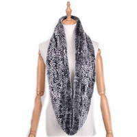 Wholesale black scarf rabbit for sale - Group buy Genuine Rex Rabbit Fur Scarf Loop type Hand Knit Infinite Scarves Women Real Rabbit Fur Shawl