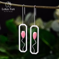 Wholesale easter lily charm for sale - Group buy Lotus Fun Natural Shell Lily Flower Dangle Earrings Real Sterling Silver K Gold Rectangle Handmade Fine Jewelry for Women CJ191201