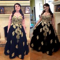 şık siyah akşam gece kıyafetleri toptan satış-Siyah Artı Boyutu Gelinlik Sevgiliye aline Altın Aplikler Şişman Kadınlar Için Uzun Abiye giyim Seksi Özel Durum Örgün Elbise Klas