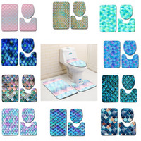 ingrosso bagno di tappeto-Fish Scale Printed Bath Mats 3pcs set Anti-slip Bathroom Floor Mats Toilet Cover Rug Bathroom Carpets Mat GGA2232