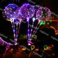 освещенные воздушные шары оптовых-Светодиодный мигающий воздушный шар Bobo Ball Светодиодная линия с ручкой Wave Ball 3M Строка загорается на Рождество Хэллоуин Свадебные украшения на день рождения DHL