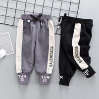 pantalón pantalón negro para niñas al por mayor-2019 Moda Primavera Niños Niños Estiramiento Pantalones Casual Marca Infantil Ropa de niños Pantalones de algodón recién nacido Bebés Negro Negro Leggings