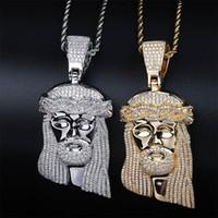 büyük taş kolyeler toptan satış-Hip Hop CZ Zirkon Taş Kaplamalı Bling Buzlu Out Büyük İSA Parça Kolye Kolye Erkekler için Rapçi Takı Altın Gümüş Kolye
