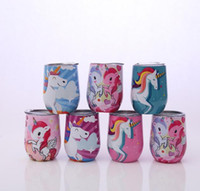 Wholesale Unicorn Pattern oz Stainless Steel Stemless Wine Cup Double Wall Stainless Steel Vacuum Insulated Beer Mug Baseball Mugs Colors