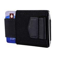 frontbörse großhandel-Elastische Vordertasche Kreditkarteninhaber Vintage Id Kartenhalter Schutz Geldbörse Brieftasche Kleine dünne schlanke minimalistische Brieftasche