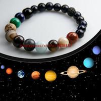 blaues sandstein armband großhandel-top angepasst Blockbuster Film Planetary Sky Blue Sandstone Naturstein Perlen Galaxy Planeten Sonnensystem Armband Armreif