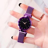 vendas de céu venda por atacado-Venda quente Céu Estrelado Assista Luxo das mulheres Ímã Magnético Fivela de Quartzo Relógio de Pulso Superfície Geométrica Feminina Diamante Relógios 6 Cores