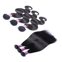 Wholesale natural remy human hair extensions for sale - Group buy Unprocessed Brazilian Straight Body Loose Deep Wave Curly Hair Weft Human Hair Peruvian Indian Remy Hair Extension Weaves Dyeable