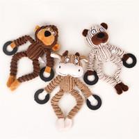 Wholesale monkey cow for sale - Group buy Chew Toys Dog Puppy Plush Toys Pet Puppy Chew Plush Sound Sheep Monkey Cow Dumb Pet Toys