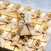 Wholesale candy box gold for party resale online - 50 European Style Wedding Favors Box Golden Red Candy Boxes DIY Gift Box Holders for Guests Party Supplies Package