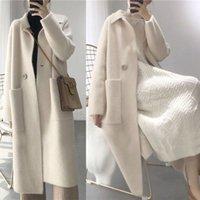 kadınlar gevşek kaşmir süveter toptan satış-2018 Sonbahar Kış Kadın Moda Gevşek Rahat Boy Kazak Bej Kaşmir Uzun Hırka Ceket Chic Yün Sıcak Örme Ceket