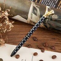 ingrosso penna stilografica in metallo nero-Vendita calda Ricariche nere Nuova penna a sfera in cristallo con motivo a punta in metallo con punta in metallo
