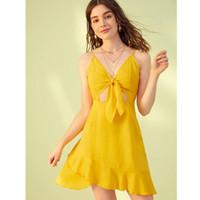 vestido amarillo kim al por mayor-Dres Sexy Hippie Chic Ropa holográfica Kim Kardashian Vestido De Fiesta Robe Chemise Vestido Autorretrato Amarillo V Cuello Playa
