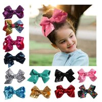 Wholesale girls glitter bow for sale - Group buy bow hairclip sweet baby girls sequin barrettes kids fashion elegant glitter children hair accessories colors MMA1294