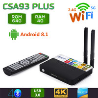 usb 5g venda por atacado-CSA93 Plus 4 GB 64 GB Android 8.1 Caixa de TV RK3328 Quad Core 4 K Smart TV 2.4G / 5G WiFi USB 3.0 Bluetooth 4.0 Set Top Box
