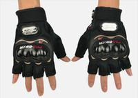 Wholesale glove mtb resale online - motorcycle half finger protection gloves POR BIKER motorbiker cycling glove moto sports racing MTB ATV DIRT BIKE non slip gloves