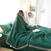 Wholesale comforters tencel for sale - 60S tencel air conditioned duvet hometectile bed spread summber quilt comforter stiching quilt blanket plaid twin l and queen size