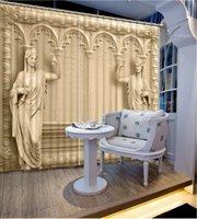 stoffspalten großhandel-New Shade Fabric Römische Säule und Saint 3D-Fotodruck Fenster Verdunkelungsvorhang für Wohnzimmer Zimmer Hotel Vorhänge Heimtextilien