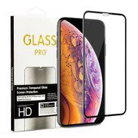 varejo tela clara iphone venda por atacado-Para iphone xs max xr x 7 8 plus 6 s 5d filme protetor de tela de vidro temperado curvo claro com pacote de varejo
