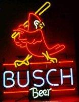 enseignes de bière au néon busch light achat en gros de-Busch Beer St Louis Cardinal Néon (VariousSizes) Beer Bar Pub Cave Man Lampe en verre d'affaires Lumière