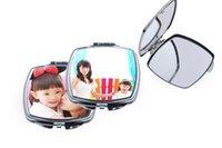 espelho de maquiagem coração venda por atacado-Sublimação portátil Maquiagem Espelho de transferência em branco consumível com forma de coração de alumínio do espelho Photo Personalização DIY Presente criativo A07