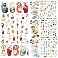 jungfrau mary gemälde großhandel-1 Blatt 3D Jesus Godness Die Jungfrau Maria Kinder Gemälde Muster klebende Nagel-Kunst-Aufkleber-Dekoration DIY Salon Tipps F19X #