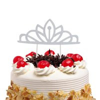 Wholesale cakes toppers resale online - Cake Toppers Flags Crown Tiara New Year Glitter Cupcake Topper Birthday Wedding Brida Party Baby Shower Baking DIY Xmas