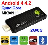 Wholesale android tv box miracast resale online - MK809III Android TV Box Quad Core RK3188T Ghz G G Mini TV Sticks Media Player Miracast Bluetooth XMC MK809 III