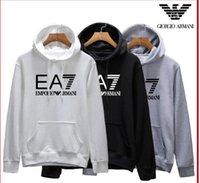 alta arredondado pescoço hoodie homens venda por atacado-8Armani Hoodies dos homens Moletons camisa esporte casual EA7 Sportswear Designer de Moda Camisolas Mulheres Em torno do pescoço Camisolas