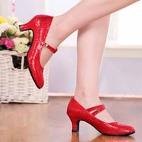 zapatos de salón tacón bajo al por mayor-Zapatos de vestir Muqgew Tacones medio altos Brillo Danza Mujeres Salón de baile Latino Tango Rumba Danza tacón bajo para damas # 17