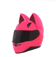Wholesale pink full face motorcycle helmet for sale - Group buy NITRINOS Brand motorcycle helmet full face with cat ears four season pink color