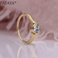 jóia de moda de casamento de ouro rosa venda por atacado-PATAYA New Glossy Anéis Oco Presentes 585 Rose Gold Rodada Zircão Natural Mulheres Anel de Casamento Romântico Simples Fine Fashion Jóias