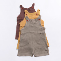 Wholesale western summer clothing online - Everweekend Toddler Kids Western Pockets Button Sleeveless Romper Clothing Ins Hot Sell Candy Color Holiday Summer Newborn Romper